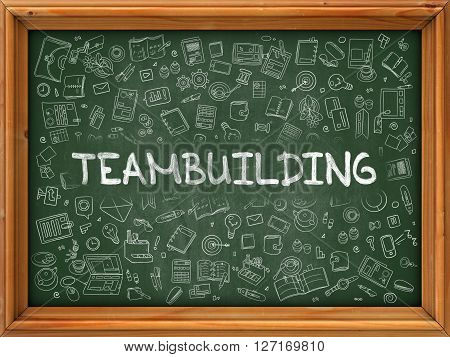 Teambuilding Concept. Modern Line Style Illustration. Teambuilding Handwritten on Green Chalkboard with Doodle Icons Around. Doodle Design Style of Teambuilding Concept.