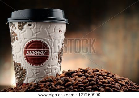 Composition With Subway Coffee Cups And Beans