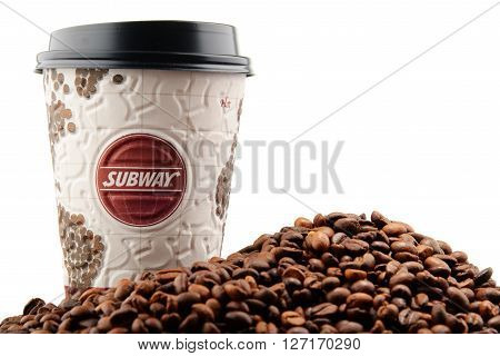 POZNAN POLAND - APRIL 24 2016: Coffee has become an important battleground for fast-food companies. Subway is one of the fastest growing franchises in the world with over 44000 restaurants