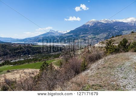 Nature overlook near vilage Embrun in Hautes-Alpes France