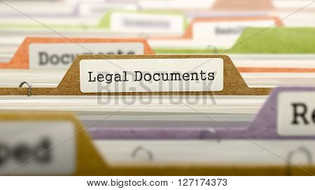 Legal Documents Concept. Colored Document Folders Sorted for Catalog. Closeup View. Selective Focus. 3D Render.