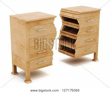 Wood chest is broken into pieces isolated on white background. 3d rendering