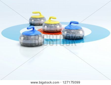 Group of curling stones in the center of the house on the ice. 3d rendering.