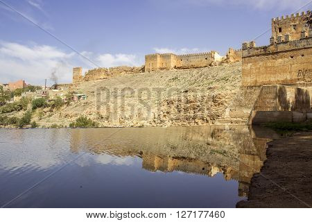 View over Oum Errabia river and Kasba Tadla city in Béni-Mellal Province Tadla-Azilal Morocco. ** Note: Soft Focus at 100%, best at smaller sizes