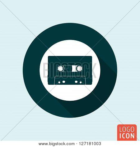 Audio cassette icon. Music cassette tape symbol. Vector illustration
