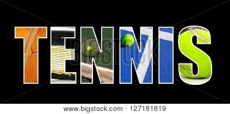 Tennis text illustration with assorted tennis images on black