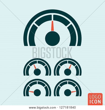 Gauge icon. Speedometer or rating meter symbol. Vector illustration