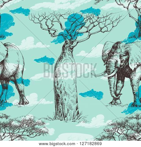African pattern, baobab tree and elephant, summer seamless pattern