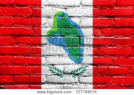 Flag Of Cumberland Head, New York, Painted On Brick Wall