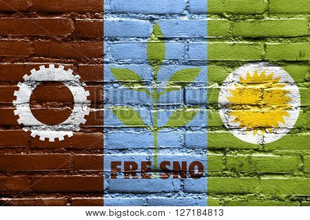 Flag Of Fresno, California, Painted On Brick Wall