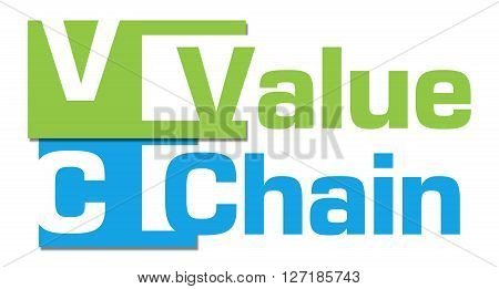 Value Chain text over green blue background.