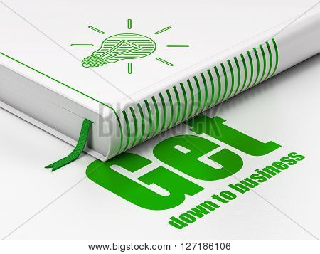 Business concept: closed book with Green Light Bulb icon and text Get Down to business on floor, white background, 3D rendering