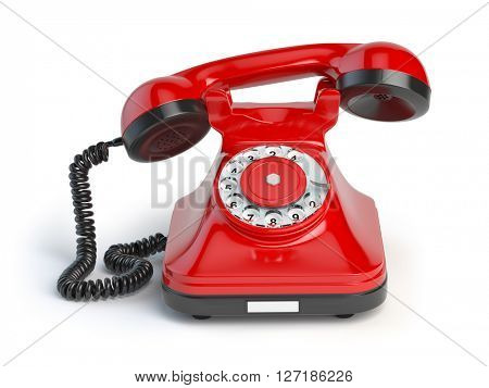 Vintage red telephone isolated on white background. 3d illustration. Retro styled telephone