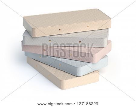 Mattress isolated on white background. Stack of orthopedic mattresses of different colors. 3d illustration