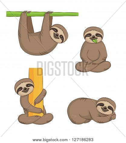 A set of cute cartoon smiling lazy sloth animal characters in different positions. Sloth on the tree sleeping eating sitting.