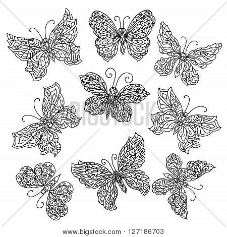 Set of Uncolored ornat butterfly for adult coloring book in famous zenart style. Hand-drawn, retro, doodle, vector, uncoloured. The best for design, textiles, posters, coloring book in vector.