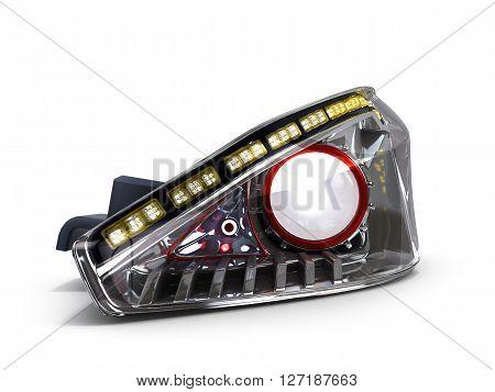Headlamp Car Isolated On White Background 3D Illustration