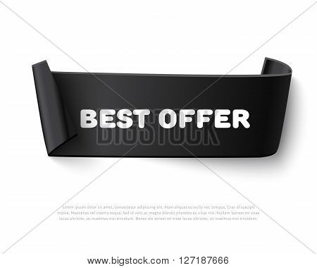 Black curl paper ribbon banner with paper rolls and text Best Offer isolated on white background. Realistic black vector paper ribbon with space for message. Curved paper