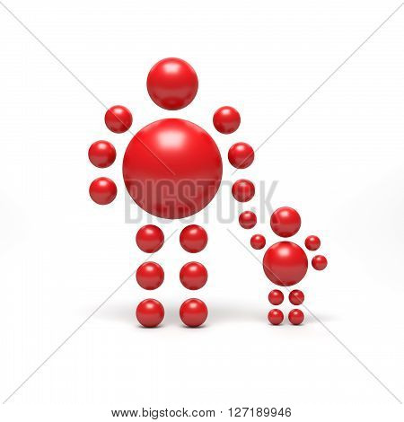 3D abstract Ballman characters on a white background