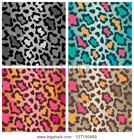 Seamless leopard print pattern in four colorways.