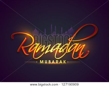 Beautiful glossy text Ramadan Mubarak on Mosque silhouetted background, Can be used as poster, banner or flyer design.