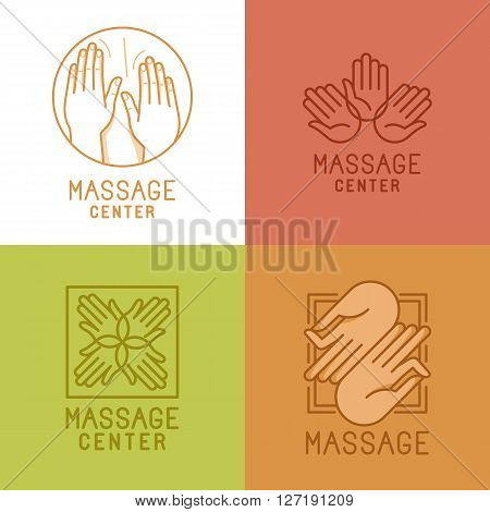 Vector Set Of  Linear Emblems And Logo Design Elements Related To Massage