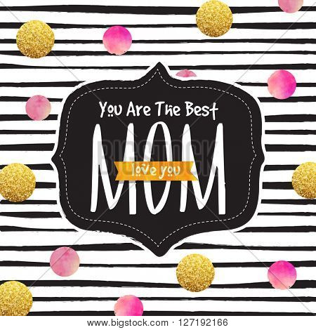 Elegant greeting card design with stylish text You are the Best Mom on creative background for Happy Mother's Day celebration.