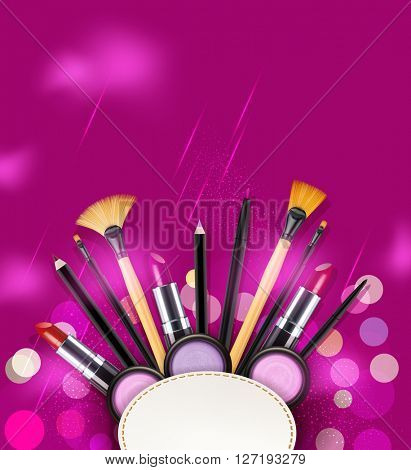 background with cosmetics and make-up objects and place for text. (pink flyer template)(JPEG Version)