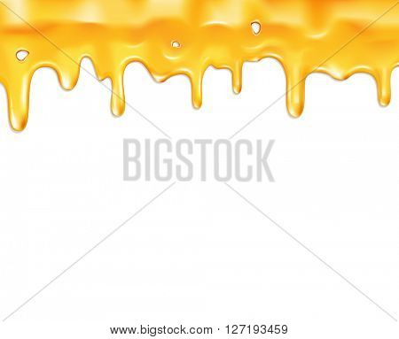 drips honey, isolated on white background