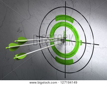 Success timeline concept: arrows hitting the center of Green Watch target on wall background, 3D rendering