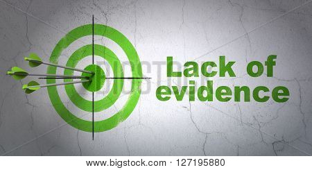 Success law concept: arrows hitting the center of target, Green Lack Of Evidence on wall background, 3D rendering