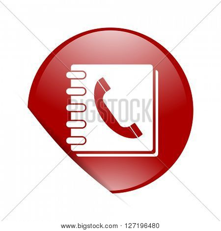 phonebook red circle glossy web icon