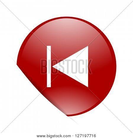 prev red circle glossy web icon