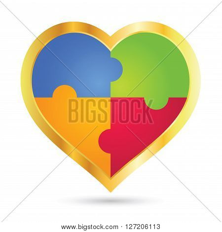 Vector stock of golden heart shape icon with colorful puzzle inside