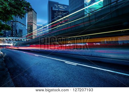 traffic trails in the downtown district,hongkong china.