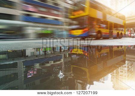 motion double-decker bus,hongkong china.