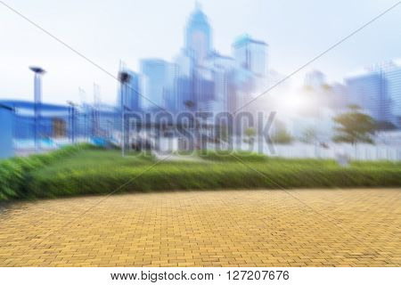 Blurred image of Hong Kong downtown distric,china.