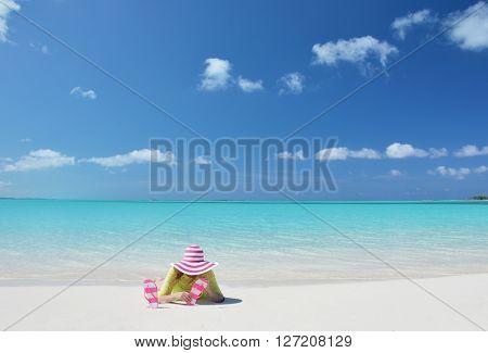 Girl on the beach of Exuma, Bahamas
