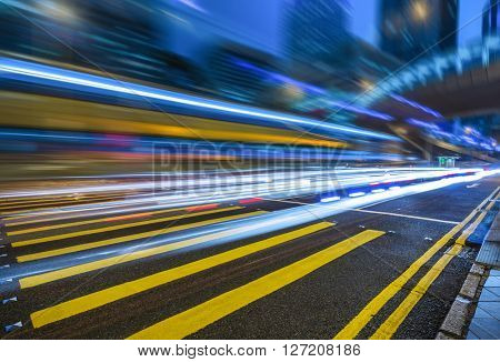 car trails on the high street,hongkong china.