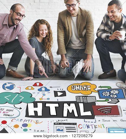 HTML Connection Links Digital Communication Concept