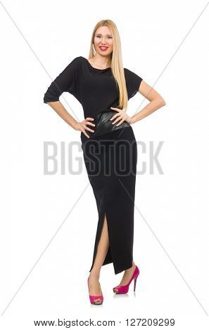 Woman in black evening dress isolated on white