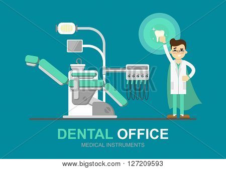 Dentist cartoon character vector illustration. Dentist with dental tools. Infographics of dentist work. Dentist tools. Dental care concept. Ad for dental clinic or dentist office. Tooth health concept. Dental background