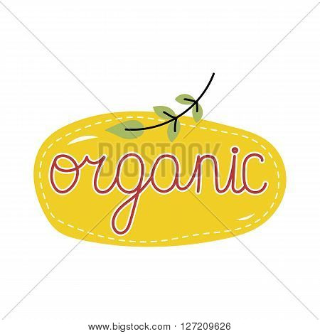 Cartoon organic icon. Organic label. Natural product icon. Organic food or cosmetic icon. Organic tag. Eco label. Organic icon. Ecology icon. Cartoon organic sign. Funny organic icon