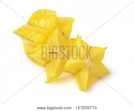 Sliced carambola fruit isolated on white