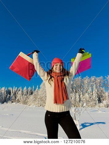 Joyful Happy Shopping Girl