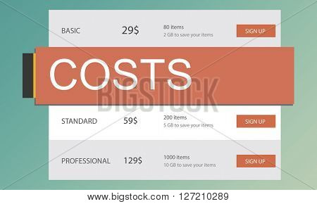 Costs Accounting Banking Bookkeeping Budget Concept
