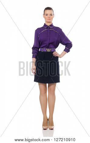 Pretty model wearing purple blouse isolated on white
