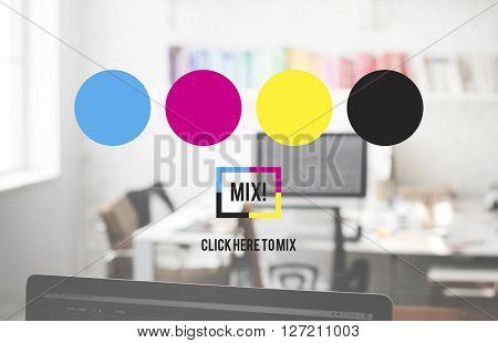 Colour Ink Print Mix CMYK Multicolored Concept