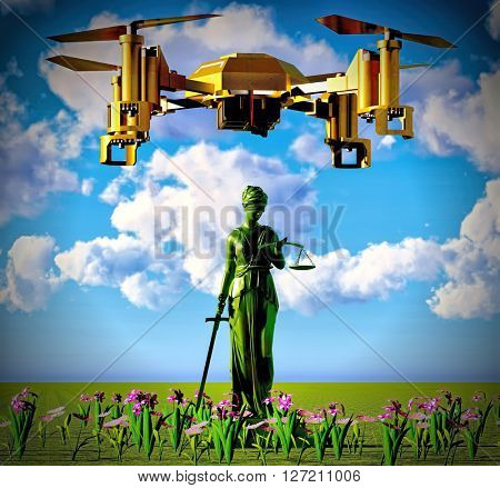 Themis and drone - 3d rendering
