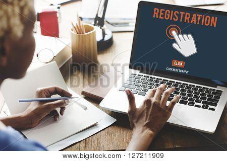 Register Registration Enter Apply Membership Concept poster